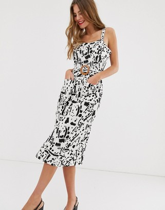 ASOS DESIGN square neck linen midi sundress with wooden buckle & contrast stitch in squiggle print