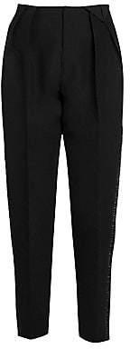 Bottega Veneta Women's Ruched Satin Tuxedo Stripe Pants