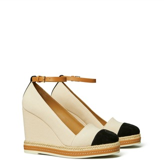Tory Burch Color-Block Ankle-Strap Wedge Espadrille