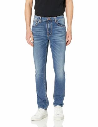 Nudie Jeans Men's Lean Dean Mid Blue Orange 33/32
