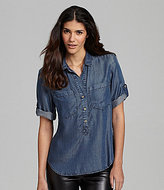 Chelsea & Violet Dot Chambray Top