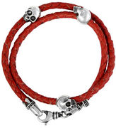 King Baby Studio Thin Braided Red Leather withHamlet Skulls Double Wrap Bracelet