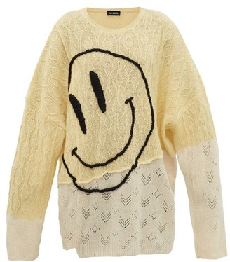 Raf Simons Smiley Face-embroidered Wool Sweater - Yellow