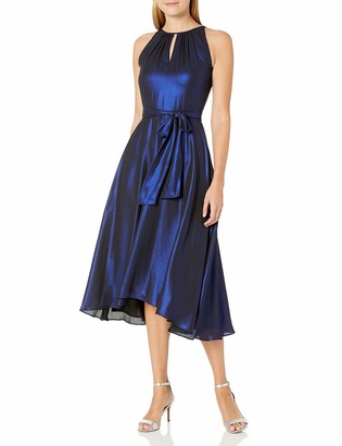 Tahari ASL Women's Ruched Neck Chiffon Hi Lo Dress