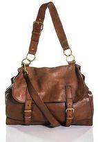 Saint Laurent Tan Brown Leather Gold Buckle Medium Flap Handbag
