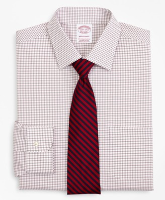 Brooks Brothers Stretch Madison Classic-Fit Dress Shirt, Non-Iron Poplin Ainsley Collar Small Grid Check