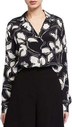 Lafayette 148 New York Mariabella Vine Print Silk Button-Front Blouse
