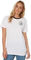 Volcom New Women's Simply Stoned Boyfriend Tee Short Sleeve Cotton White