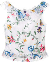 Goat embroidered flower top