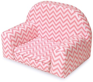 Badger Basket Pink Chevron Upholstered Doll Chair with Foldout Bed