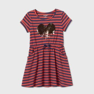 Cat & Jack Girls' Flip Sequin Heart Striped Knit Dress - Cat & JackTM Orange/Navy