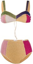 Oseree shimmer colour block bikini set