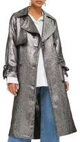 Topshop Women's Metallic Trench Coat