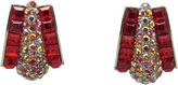 One Kings Lane Vintage Festive Fiery Red Rhinestone Earrings