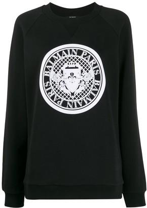 Balmain Logo Ribbed Crew Neck Sweatshirt