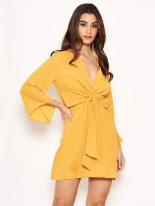 AX Paris Petite Tie Front Dress - Yellow