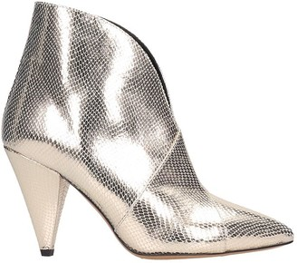 Isabel Marant Archenn High Heels Ankle Boots In Gold Leather