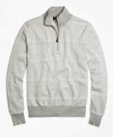 Brooks Brothers Supima® Cotton Pique-Stitch Stripe Half-Zip Sweater