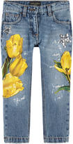 Dolce & Gabbana Slim fit stone jeans with tulip patches