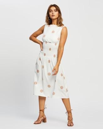 Reverse Cowl Neckline Midi Dress