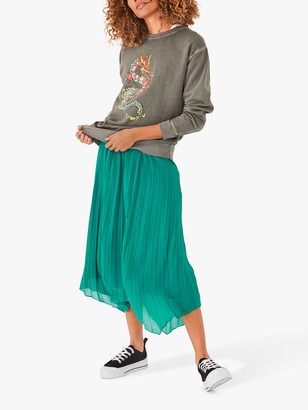 Hush Annissa Pleated Midi Skirt, Parasailing Green