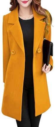 Starstreetcom Women Trench Coat Spring Long Sleeve Double Breasted Slim Fitted Coat Long Jacket Coats Peacoat Overcoat (Tag 2XL(UK 12)