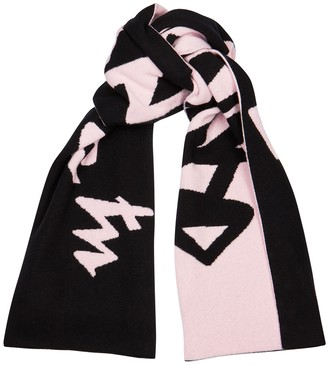 Off-White Black And Pink Logo-intarsia Wool Scarf