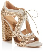 Salvatore Ferragamo Edith Metallic Leather Twist High Heel Sandals