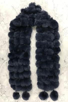 Sass & Belle Navy Fur Pom-Pom Scarf