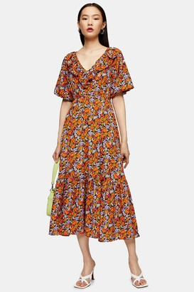 Topshop Womens Orange Floral Print V Neck Frill Midi Dress - Orange