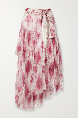 Zimmermann Tasseled Ruffled Printed Silk-crepon And Twill Midi Skirt - Pink