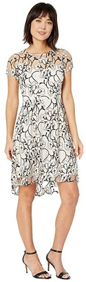 Adrianna Papell Floral Embroidered High-Low Dress (Blush Multi) Women's Dress