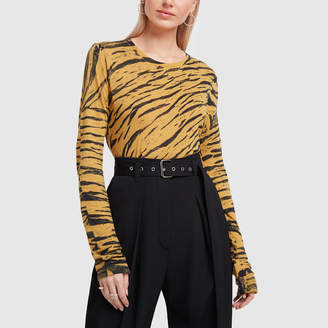 Proenza Schouler Tiger Print Long Sleeve T-Shirt