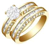 FineTresor 2.27 Carat Round Diamond Engagement Ring Bridal Set Engagement Ring on 18K Yellow Gold