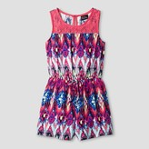LILT Girls' LILT Sleeveless Challis Romper with Coral Crochet Trip Top Bodice & Elastic Waist with Center Bow