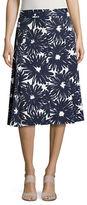 Imnyc Isaac Mizrahi Navy Daisy A-Line Skirt