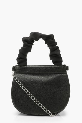 boohoo Ruched Handle Saddle Bag With Chain
