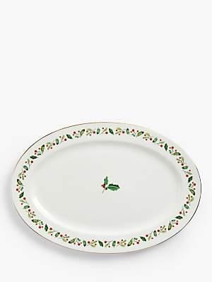John Lewis & Partners Holly Oval Turkey Platter, 40cm, White/Multi