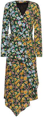 Maje Roen Asymmetric Wrap-effect Floral-print Crepe Midi Dress