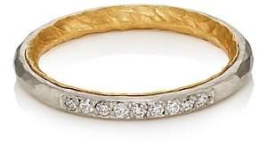 Malcolm Betts Women's White Diamond Thin Band-Gold