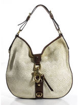 Francesco Biasia Ivory Brown PVC Trim Center Hook Strap Medium Shoulder Handbag