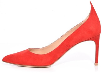 Francesco Russo Flame Suede Pump in Red