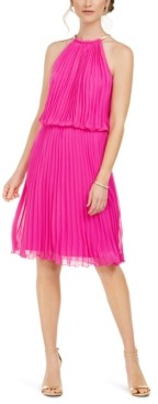 MSK Pleated Halter Fit & Flare Dress