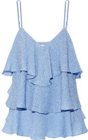 Paul & Joe Flores Ruffled Silk-blend Cloqué Top - Light blue