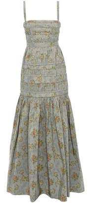 Brock Collection Pleated Floral-print Taffeta Maxi Dress