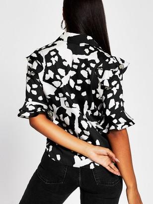 River Island Printed Frill Detail Shirt - Black