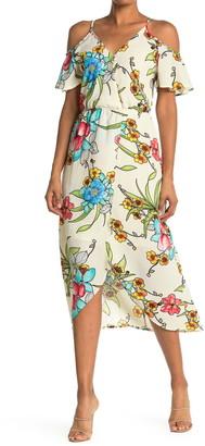Fraiche by J Cold Shoulder Pattern Maxi Dress