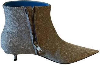 Balenciaga Knife Silver Glitter Ankle boots