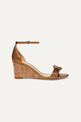 Alexandre Birman Vicky Knotted Leather Wedge Sandals - Bronze