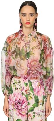 Dolce & Gabbana Flower Print Silk Organza Sheer Shirt